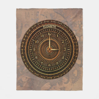 Antique Retro Steampunk Rusty Art Deco Clock Fleece Blanket