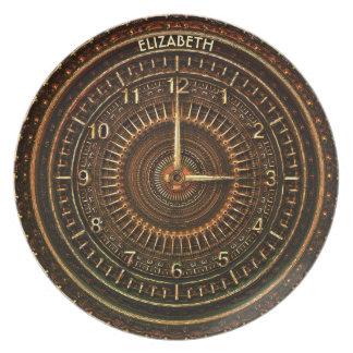 Antique Retro Steampunk Rusty Art Deco Clock Plate
