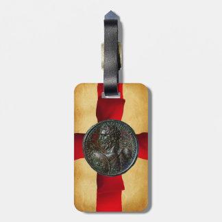 ANTIQUE ROMAN BRONZE MEDALLION Red Ribbon Luggage Tag