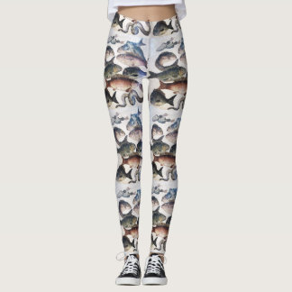 ANTIQUE ROMAN MOSAICS, FISHES,OCEAN SEA LIFE SCENE LEGGINGS