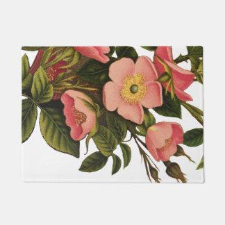 Antique Rose Flower Art Illustration Drawing Doormat