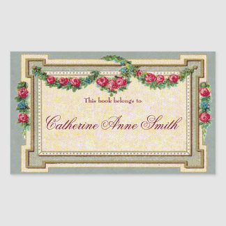 Antique Rose-Framed Bookplate Sticker