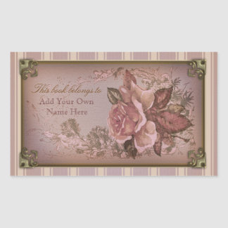Antique Rose (pink) Bookplate Rectangle Sticker