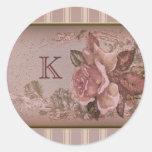 Antique Rose (pink) Custom Monogram Round Sticker