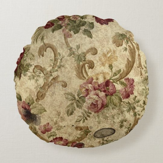 Antique rose print on round throw pillow