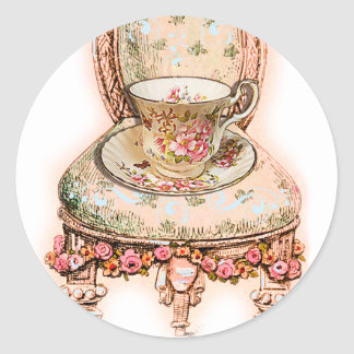 Antique Rose Teacup and Victorian Chair Classic Round Sticker