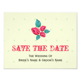 """Antique Rose Wedding Save The Date 4.25"""" X 5.5"""" Invitation Card"""