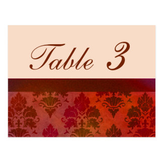 Antique Roses Damask Reception Table Numbers Postcard
