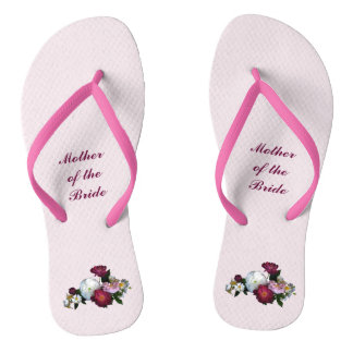 Antique Roses Wedding Mother of Bride Flip Flops