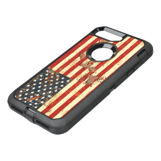 Antique Rusted American Flag USA OtterBox Defender iPhone 7 Plus Case