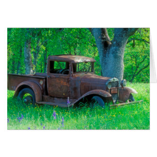 Antique rusted truck in a meadow card