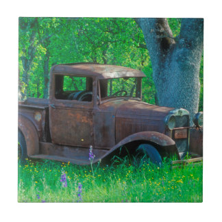 Antique rusted truck in a meadow ceramic tile