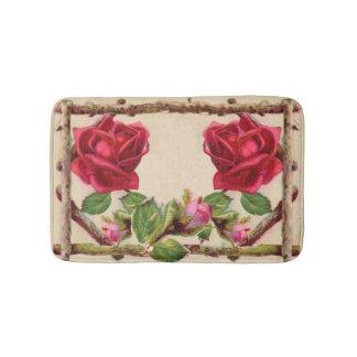 Antique Rustic Roses Vintage Flower Bath Mat