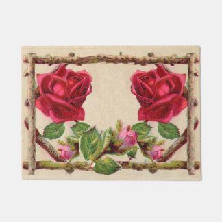 Antique Rustic Roses Vintage Flower Doormat
