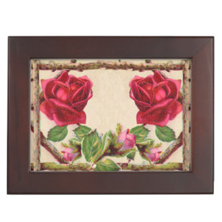 Antique Rustic Roses Vintage Flower Keepsake Boxes