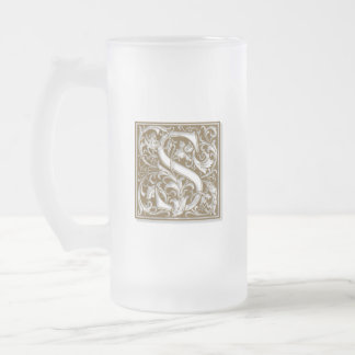 Antique S Monogram Frosted Glass Beer Mug