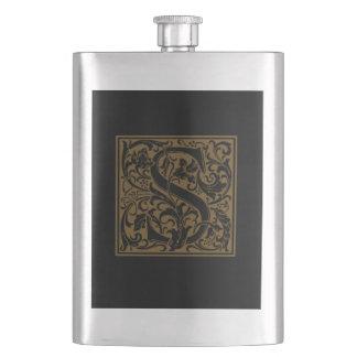 Antique S Monogram Hip Flask