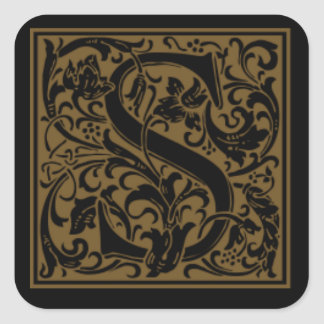 Antique S Monogram Square Sticker