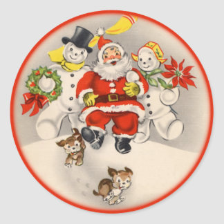 Antique Santa and Snow People Stickers