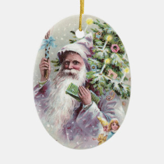 Antique Santa in Purple Coat with Christmas Tree Ceramic Ornament
