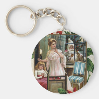 Antique Santa Peeks in Window at Mother Daughter Key Chain