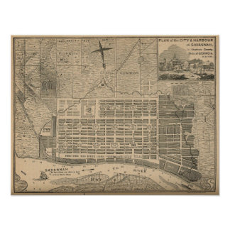Antique Savannah City Plan Poster