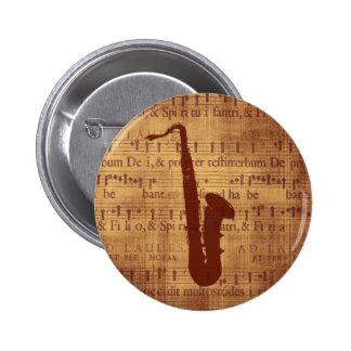 Antique Saxophone 2 Inch Round Button