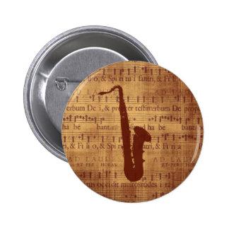 Antique Saxophone Pinback Buttons