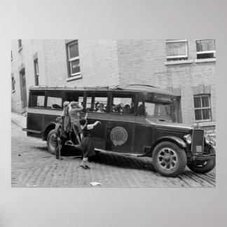 Antique School Bus, 1930s Poster