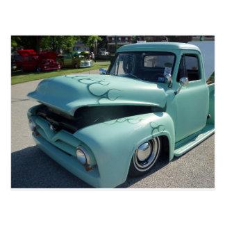 Antique Sea Green Truck Postcard