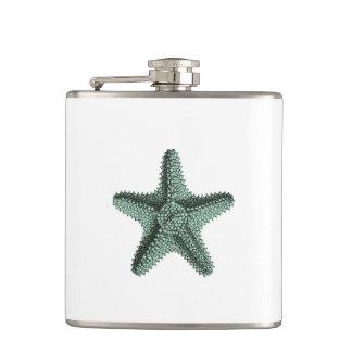 Antique Sea Starfish Illustration Hip Flask