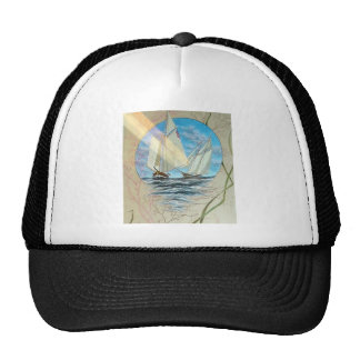 ANTIQUE SEASCAPE WITH LIONFISH AND SAILBOATS TRUCKER HAT