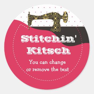 antique sewing machine fabric stitching gift pa... round sticker