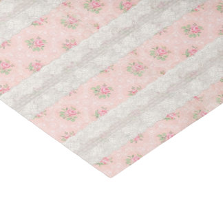 Antique Shabby Pink Roses and Lace Tissue Paper