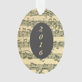 Antique Sheet Music Bach Manuscript Custom Year Ornament
