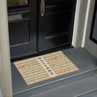 Antique Sheet Music Welcome Mat