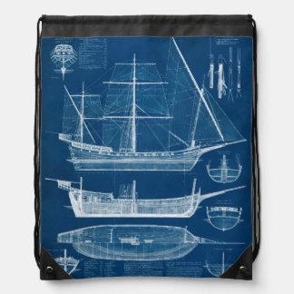 Antique Ship Blueprint I Cinch Bags