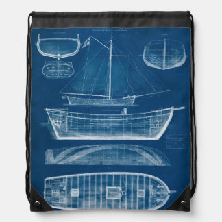 Antique Ship Blueprint II Drawstring Backpack