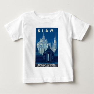 Antique Siam Bangkok Temples Travel Poster Baby T-Shirt
