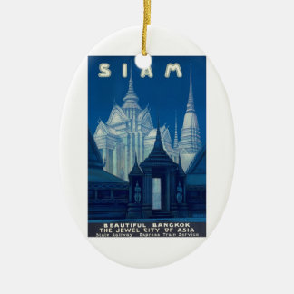 Antique Siam Bangkok Temples Travel Poster Ceramic Oval Ornament