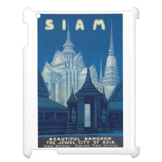 Antique Siam Bangkok Temples Travel Poster iPad Case