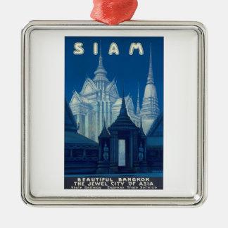Antique Siam Bangkok Temples Travel Poster Metal Ornament