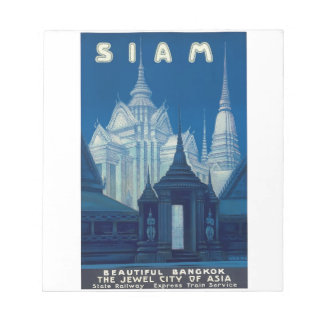 Antique Siam Bangkok Temples Travel Poster Notepad