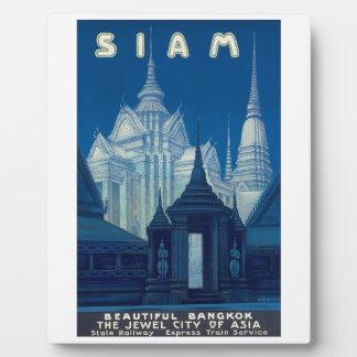 Antique Siam Bangkok Temples Travel Poster Plaque