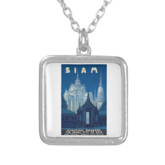 Antique Siam Bangkok Temples Travel Poster Silver Plated Necklace