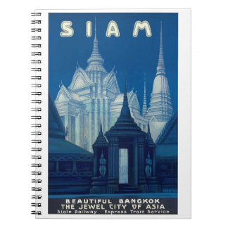 Antique Siam Bangkok Temples Travel Poster Spiral Notebook