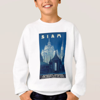 Antique Siam Bangkok Temples Travel Poster Sweatshirt