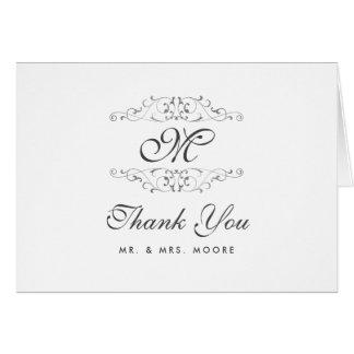 Antique Silver Flourish Wedding Thank You Card