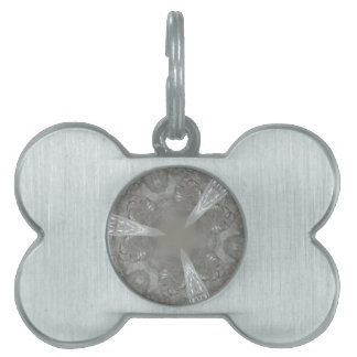 Antique Silver Gray Decorative Kaleidoscopic Pet Name Tags