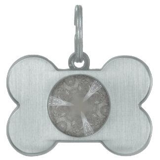 Antique Silver Gray Decorative Kaleidoscopic Pet Tag